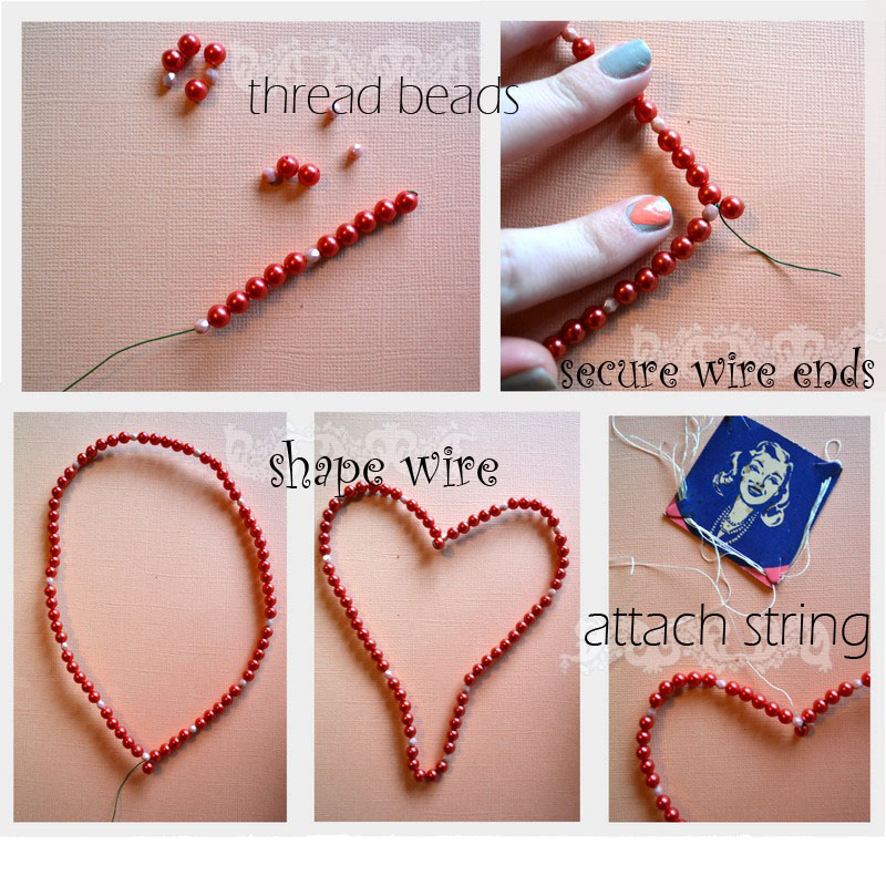diy hanging valentines bead hearts