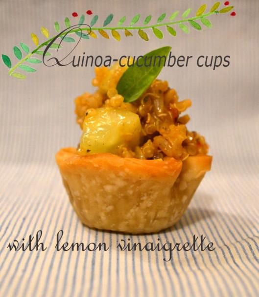 quinoa cucumber cups with lemon vinaigrette