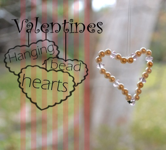 diy hanging valentines bead hearts