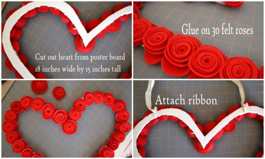 valentine felt rose wreath