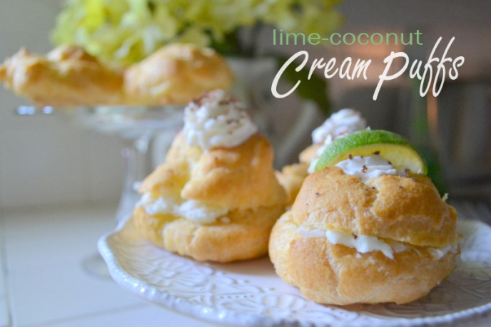 lime-coconut cream puffs