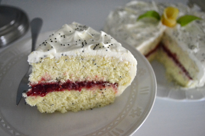 lemon poppyseed cake with raspberry curd
